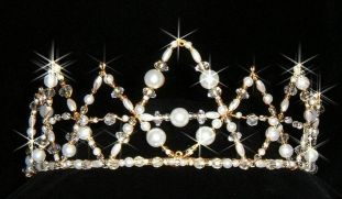 Pearl & crystal bead crown shape